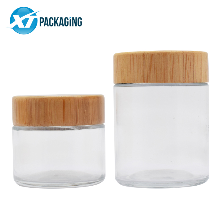 2oz 4oz child resistant clear glass mason jar  storage jar cream jar width childproof  bamboo lid picture