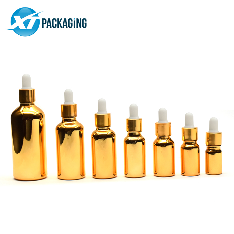 Custom 10ml 15ml 30ml 50ml 100ml 202ml gold Essential Glass Bottle for oil CBD oil child proof cap picture