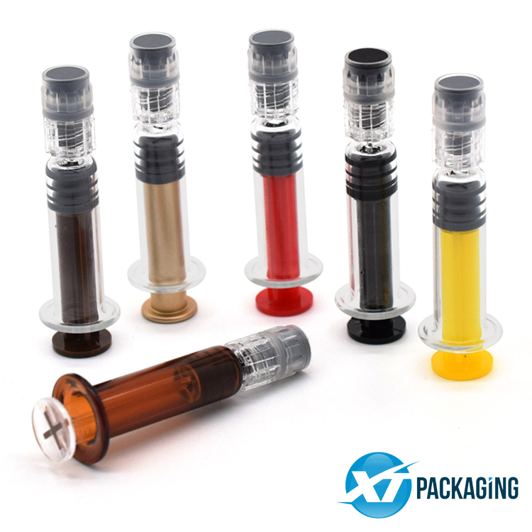 Custom 1ml clear glass syringe with luer lock cbd oil syringes packaging picture